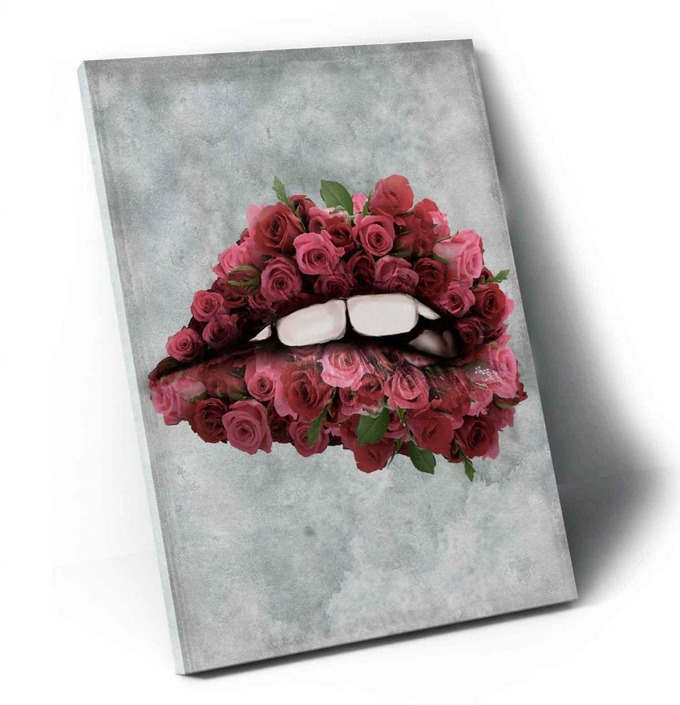 Quadro abstrato colorido para sala - Quadro la boca cor de rosas