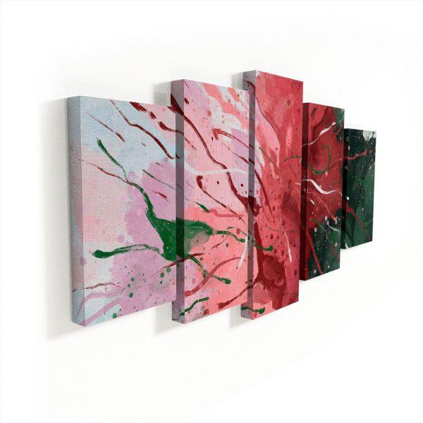 Quadro Abstrato Florescer sem moldura 5 peças
