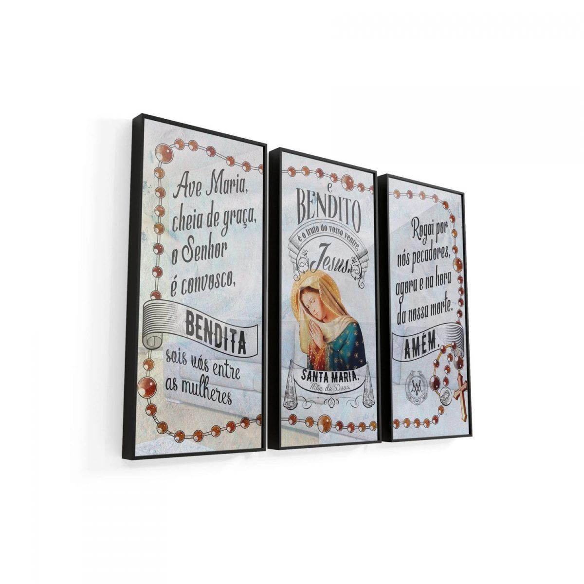Quadro Ave Maria 3 peças