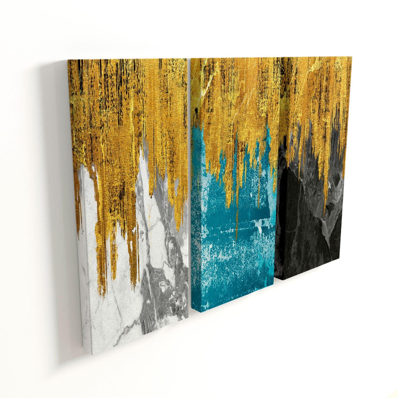 Quadro Abstrato Mármore 3 peças