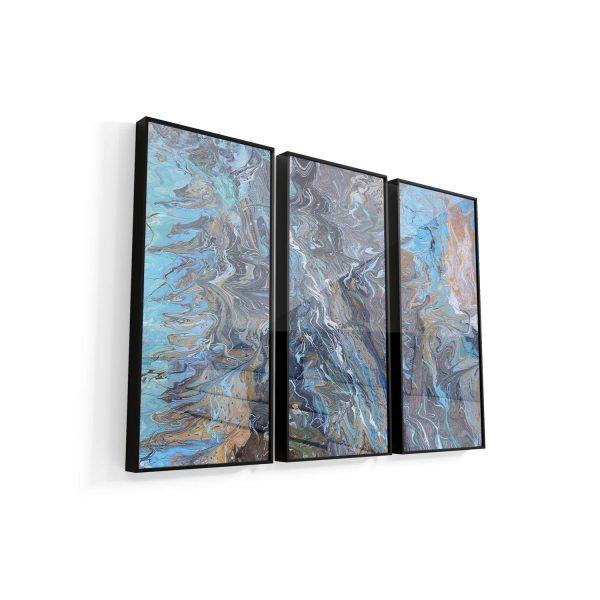 Quadro Ondas de águas nórdicas 3 peças vidro