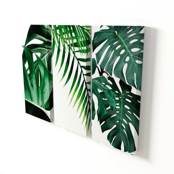 Quadro Decorativo para Sala 3 peças plantas tropicais