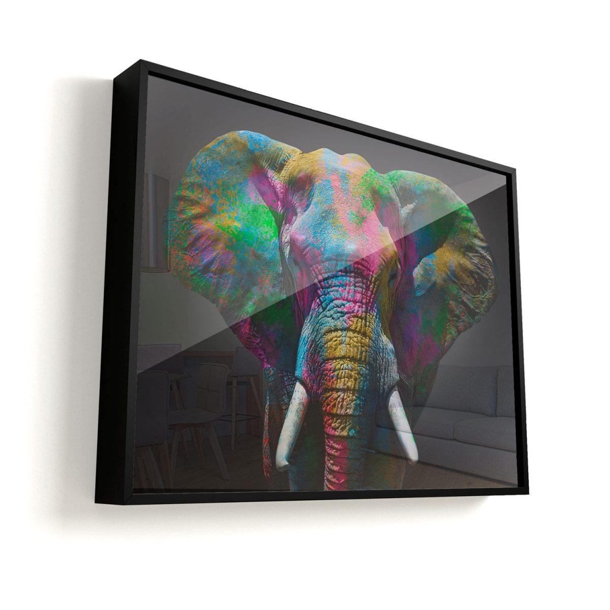Quadro Elefante moldura mais vidro