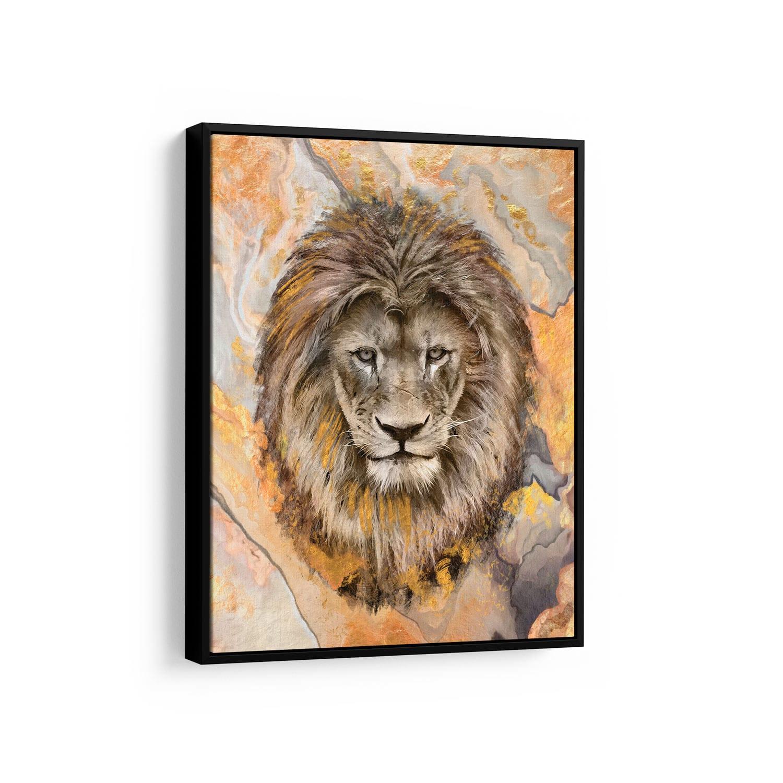 Quadro Leão Empalhado no Mármore