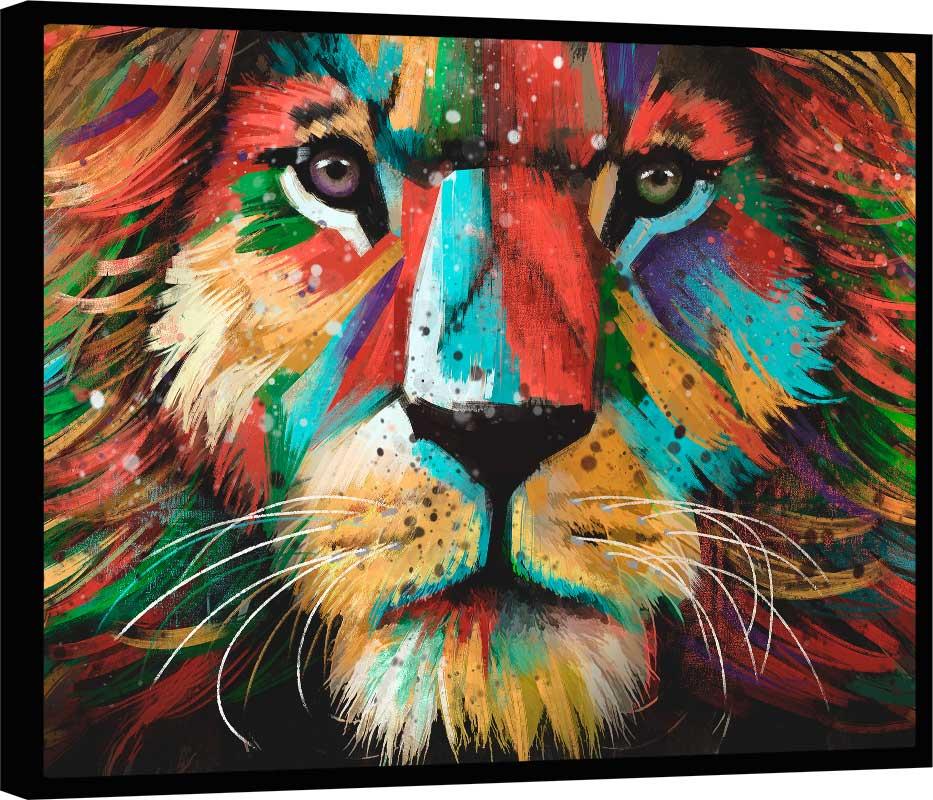 Quadro Leão Colorido