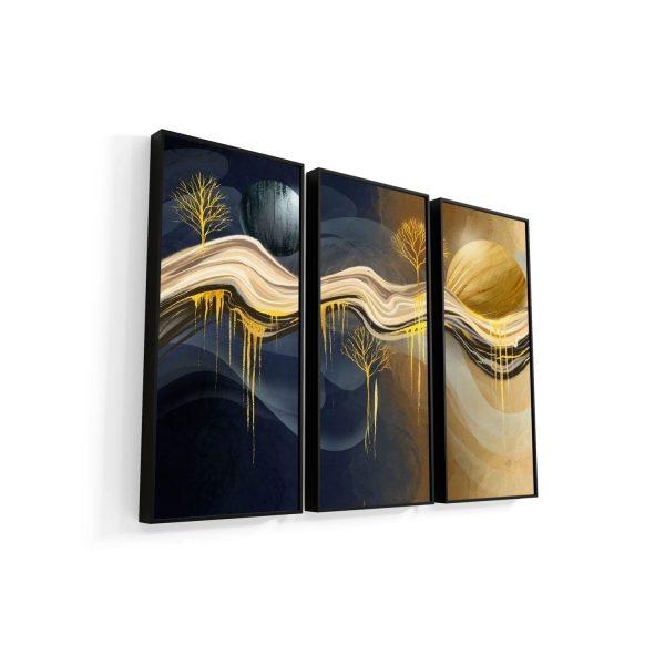 Quadros Decorativos Abstrato Noite e Dia 3 Peças
