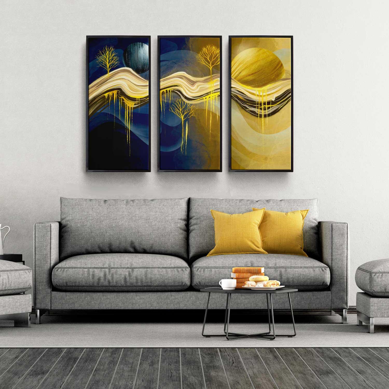 Quadro decorativo para quarto abstrato 3 peças quadro abstrato 3 peças noite e dia