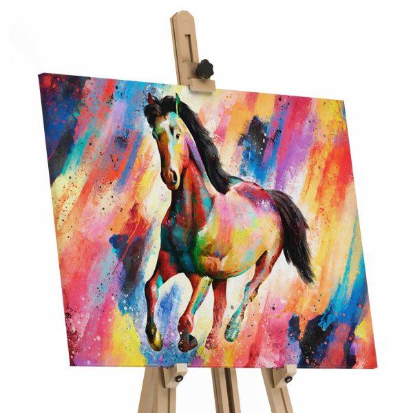 Quadro decorativo cavalo colorido