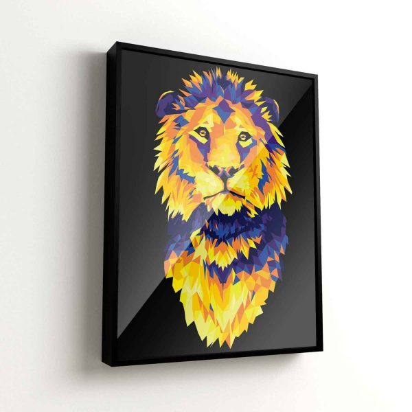 Quadros decorativos leão geométrico colorido