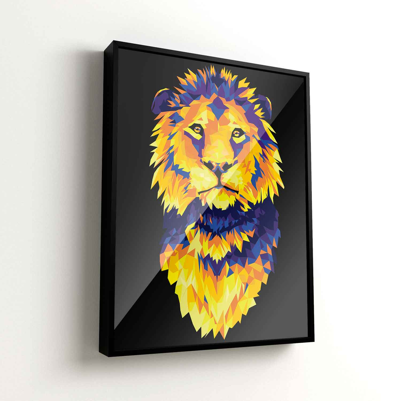 Quadro Leão Colorido Geométrico