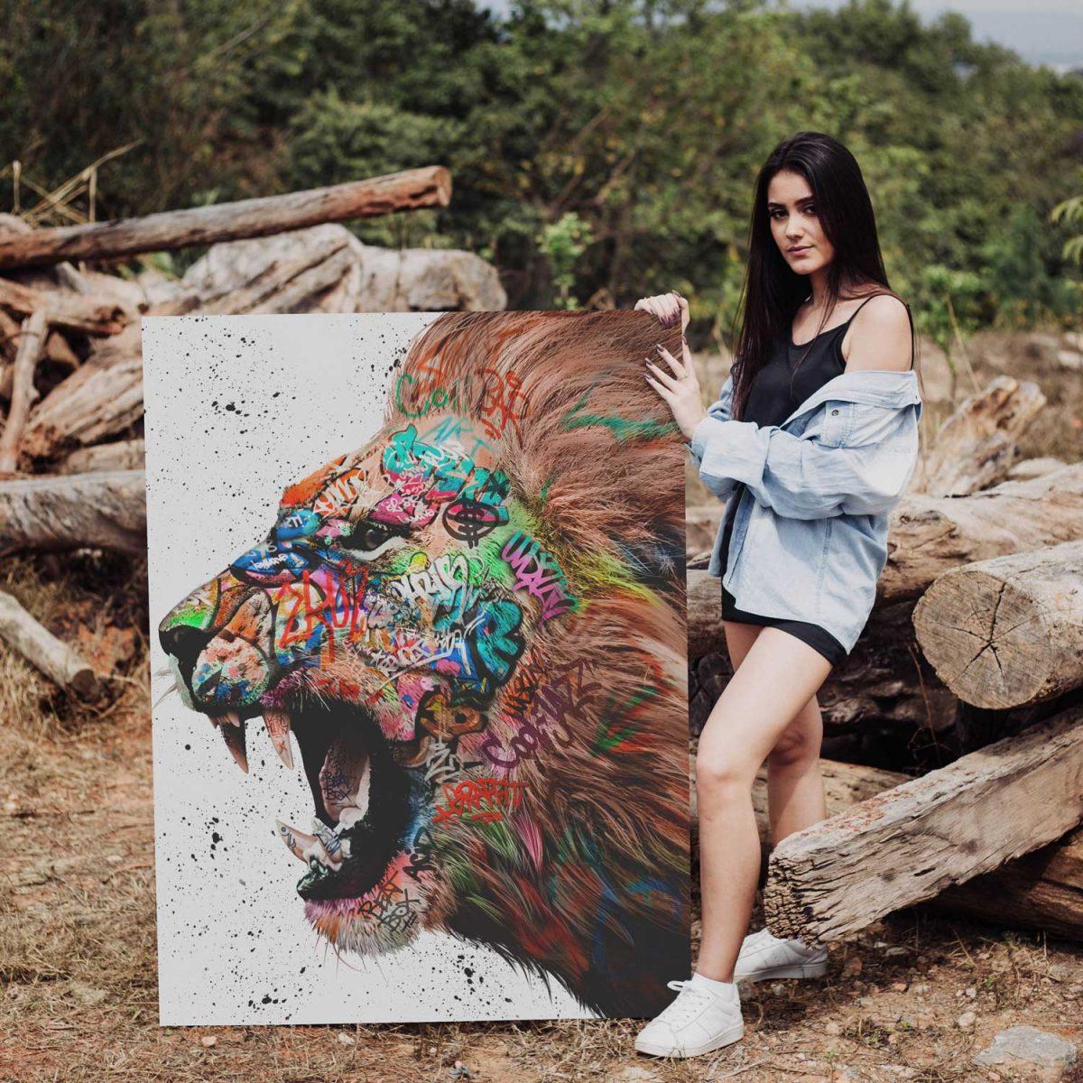 Quadro Decorativo Leão Grafitti