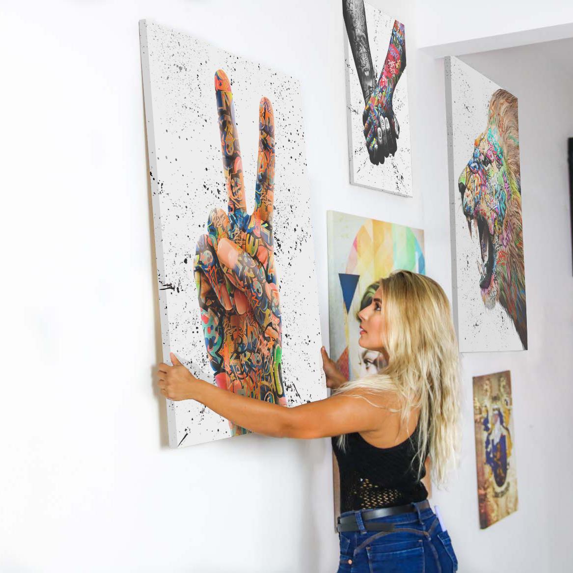 Quadro Decorativo para sala Grafitti Paz e Amor