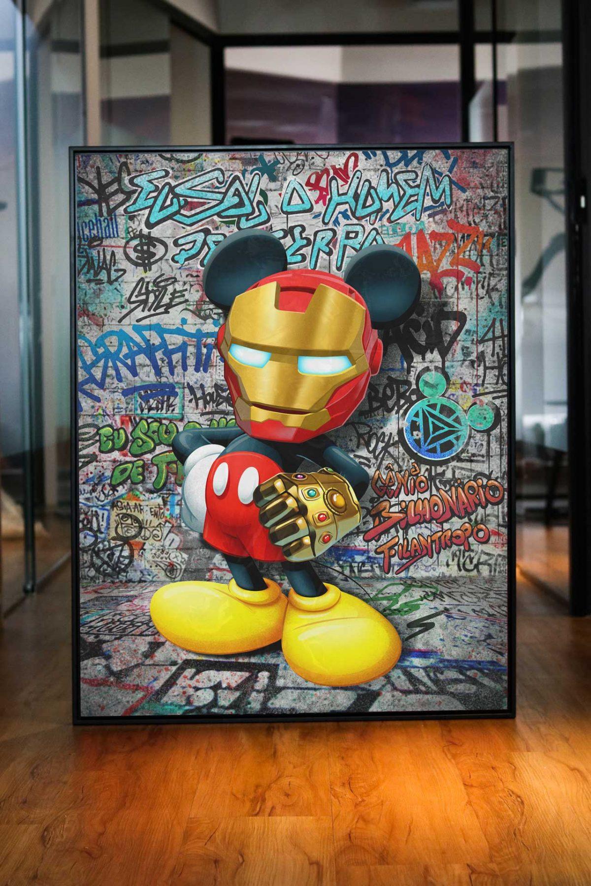 Quadro Decorativo Mickey Homem de Ferro Manopla do Universo quadro decorativo para sala mascara de ferro quadro decorativo para quarto máscara de ferro