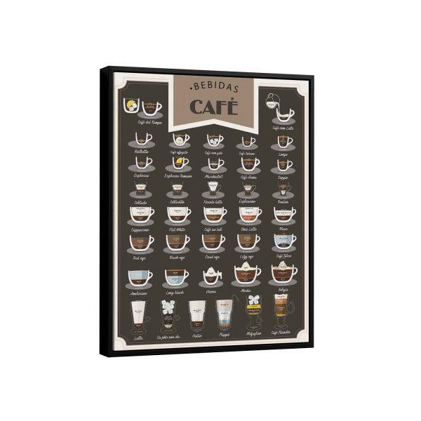 Quadro decorativo bebidas com café