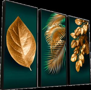 Quadro As Folhas de Midas 3 Peças