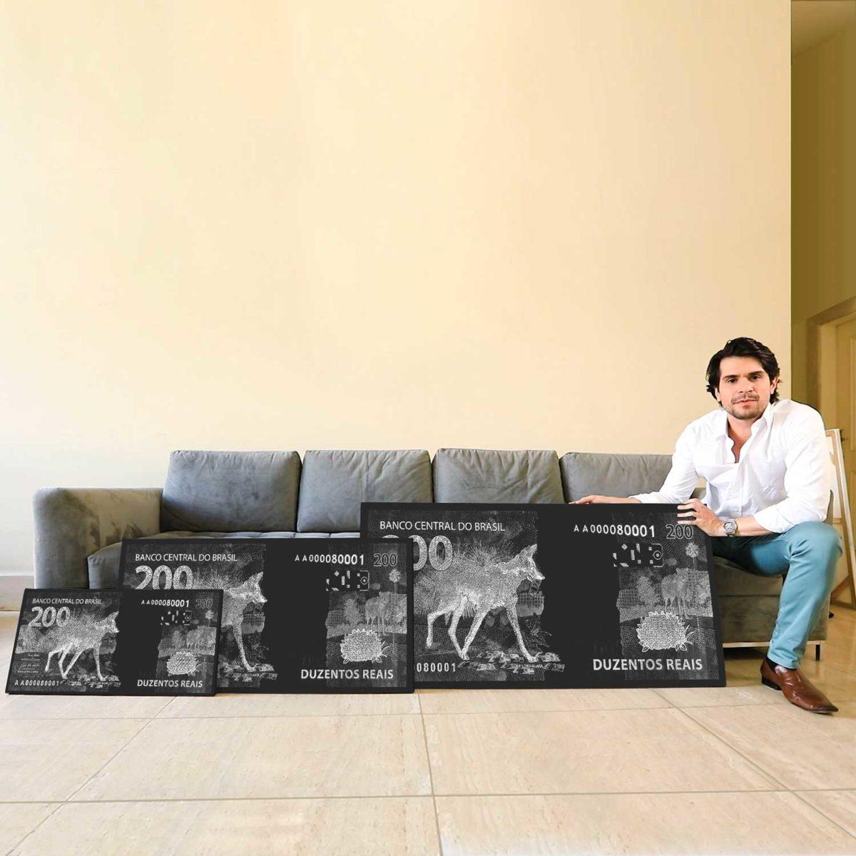 Quadro Decorativo para Empresários Quadro Nota de 200 reais Nota Lobo Guará