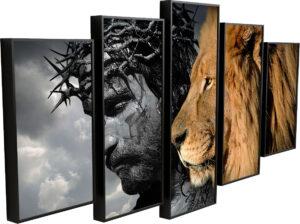 Quadro Jesus o Leão de Judá 5 Peças