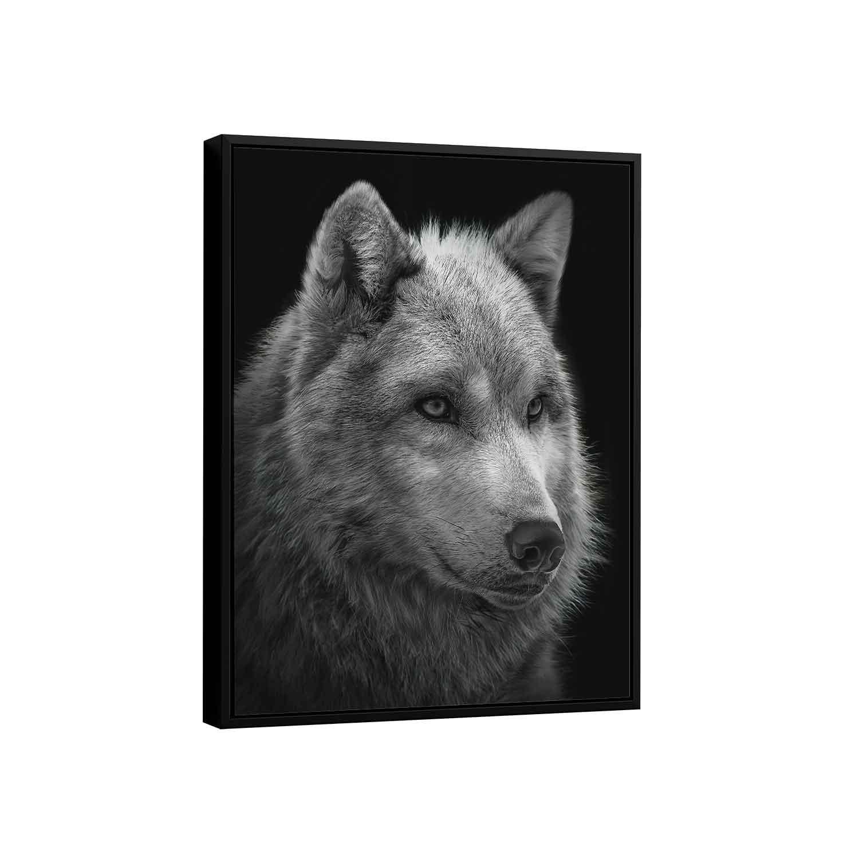 Quadro Lobo Preto e Branco