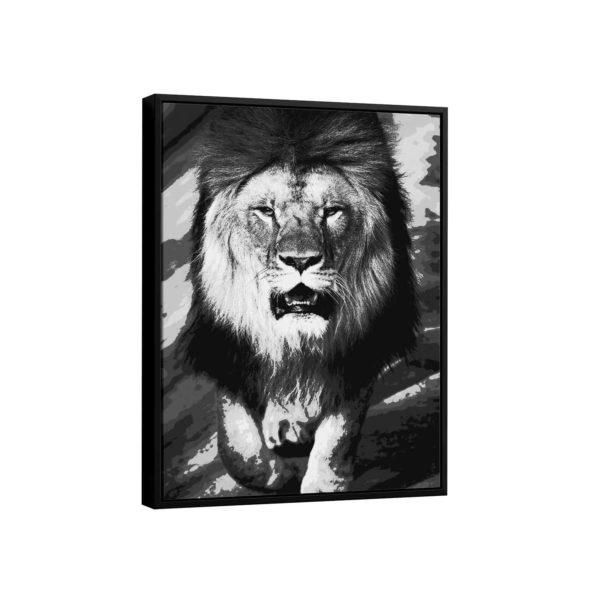 Quadro Decorativo O Leão Preto e Branco
