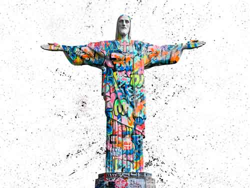 Quadro Cristo Redentor Grafite CRAIG