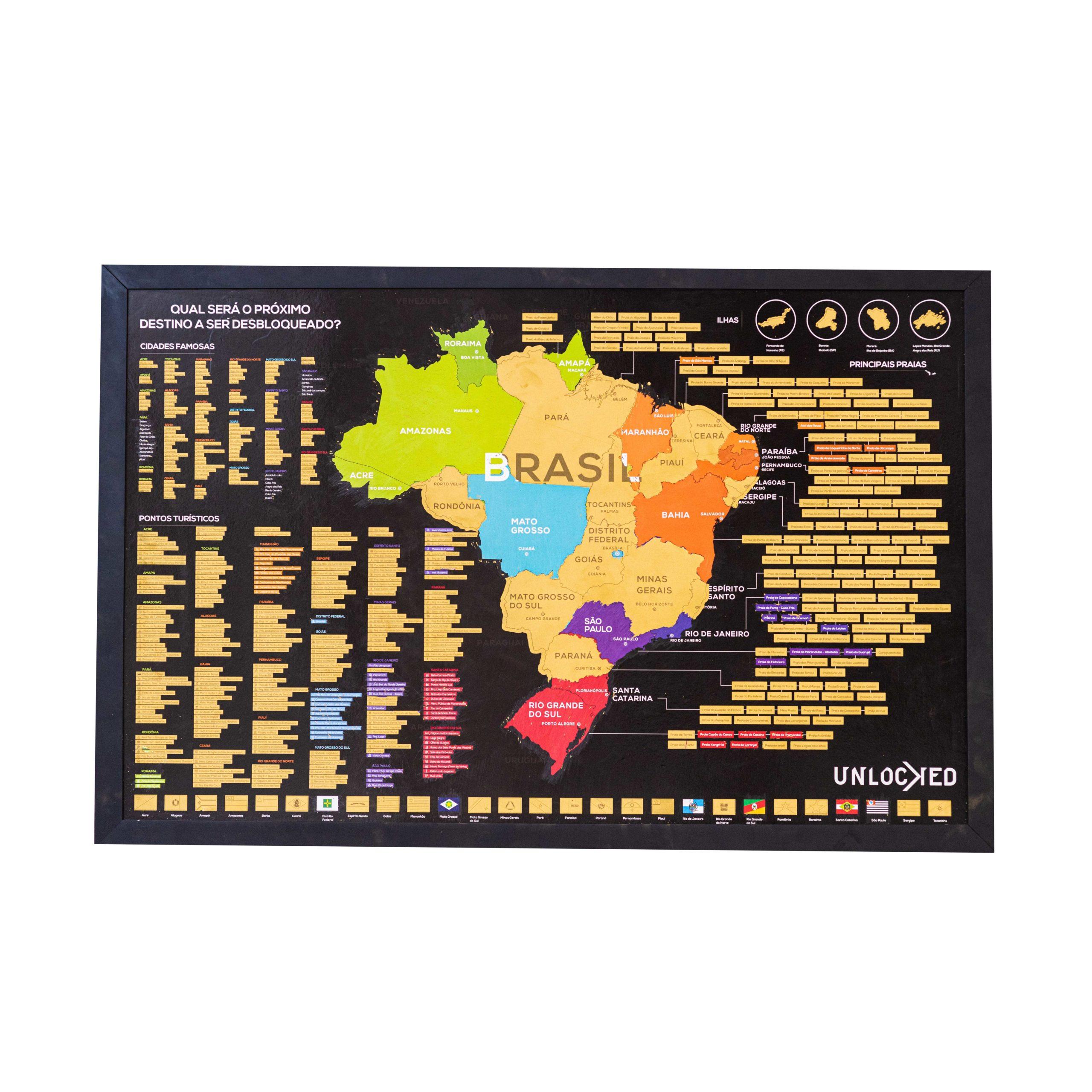 Mapa do Brasil de Raspar Unlocked Grande 94x60 CM