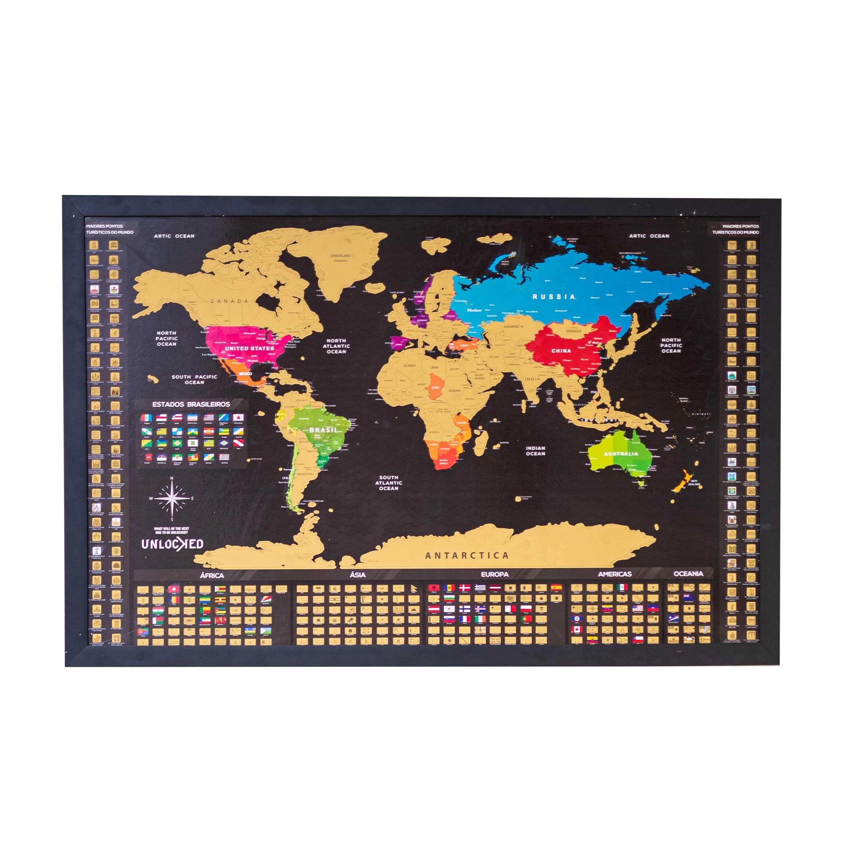 Mapa Mundi de Raspar Unlocked Grande 94x60