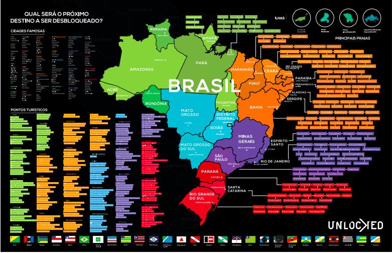 Mapa do Brasil de Raspar Unlocked Grande 94×60 CM