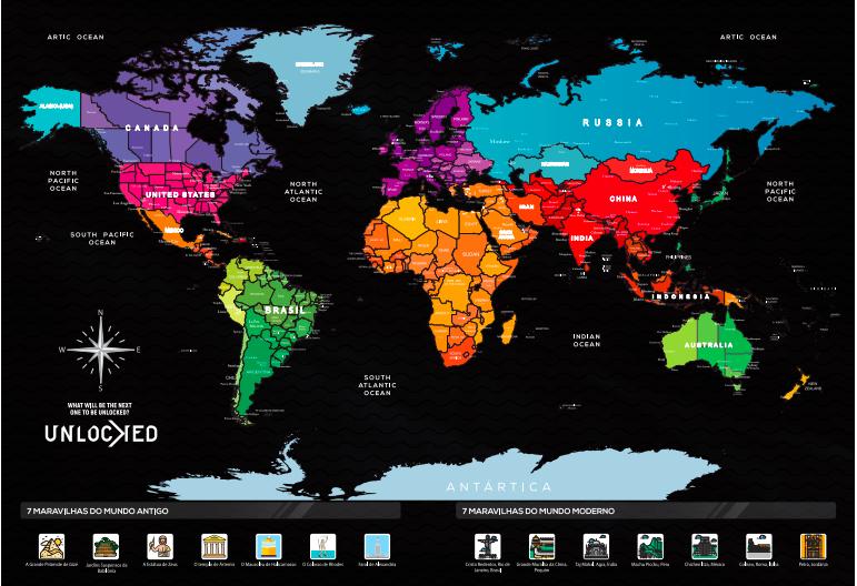 Mapa Mundi de Raspar Unlocked Pequeno 60x42CM