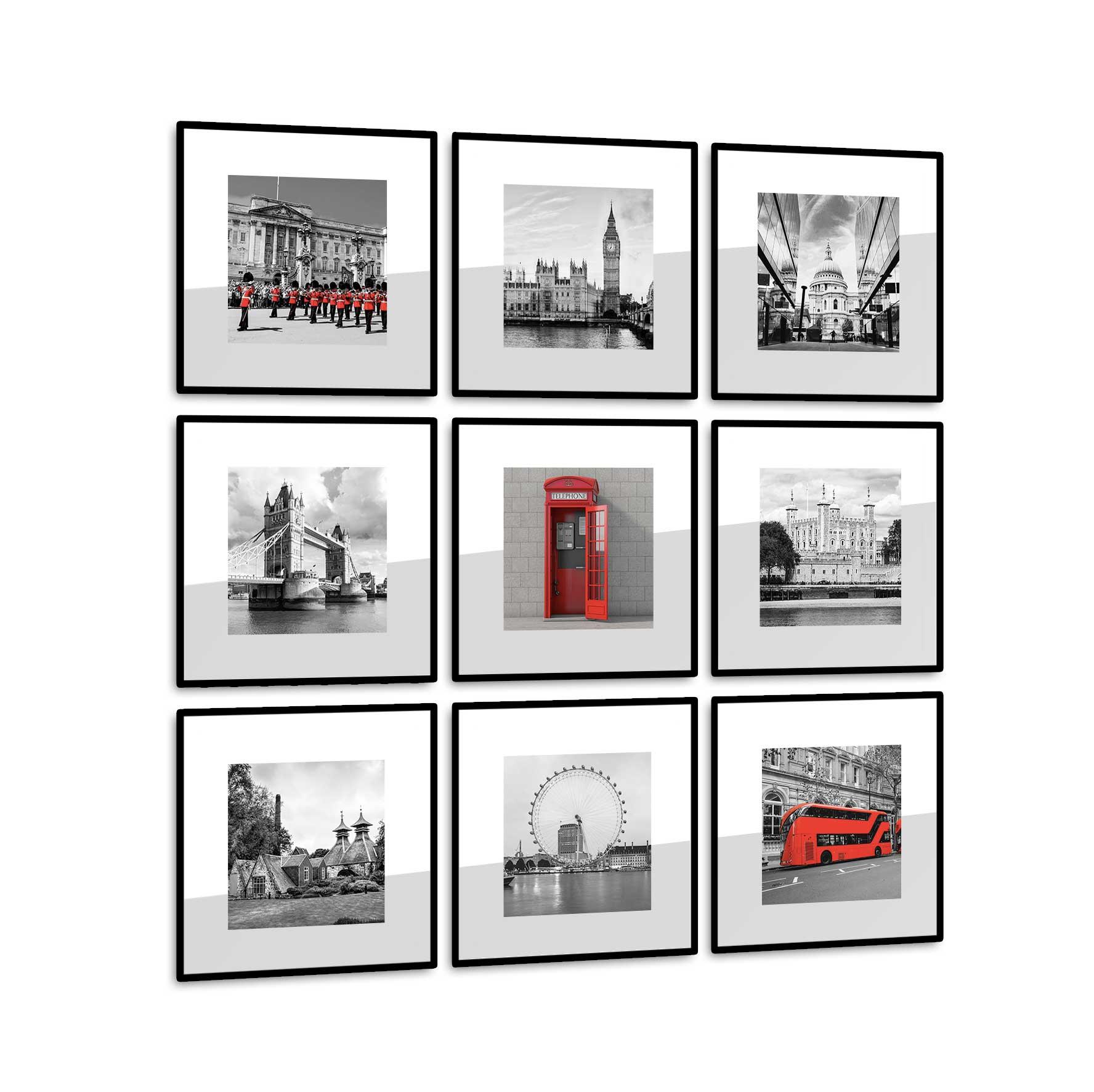Conjunto 9 Quadros Decorativos LONDON