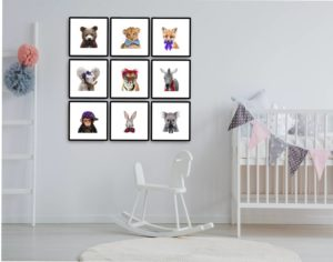 "Conjunto ""9 quadros decorativos Bebê Safari"""
