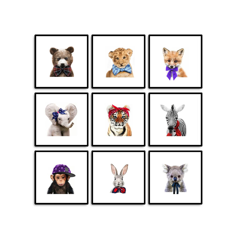 Conjunto 9 Quadros Decorativos Bebê Safari