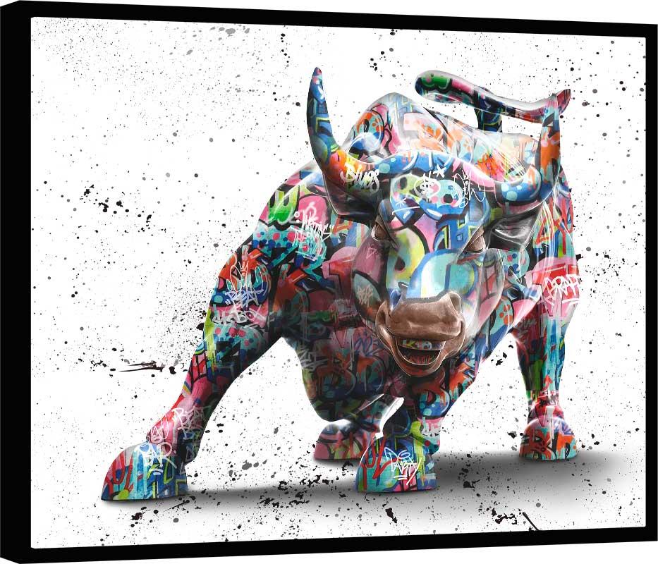 Quadro Touro de Wall Street Grafite Craig