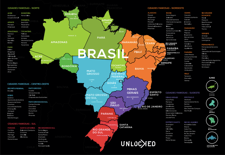 Mapa do Brasil de Raspar Unlocked Pequeno 60x42CM