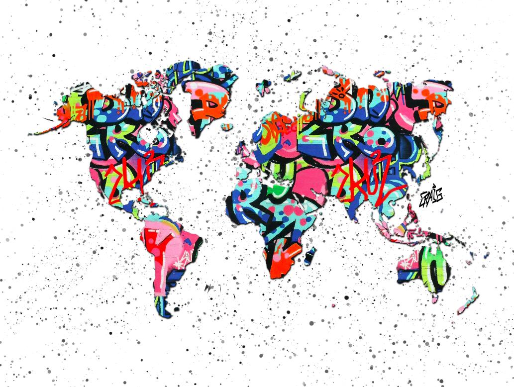 Quadro Mapa Mundi Grafite CRAIG