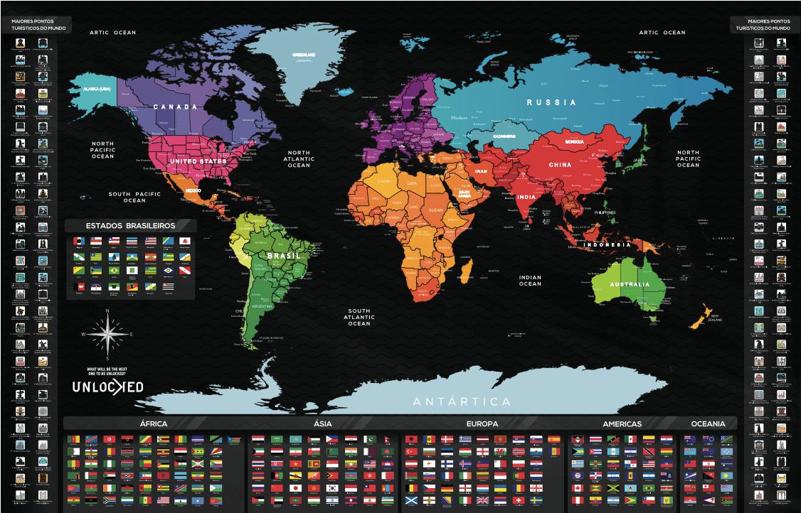 Mapa Mundi de Raspar Unlocked Grande 94×60