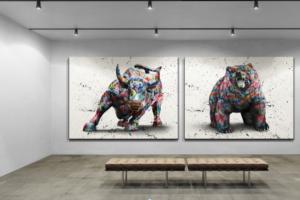 """Quadros """"Touro de Wall Street Grafite CRAIG"""" e """"Urso de Wall Street Grafite CRAIG"""""""