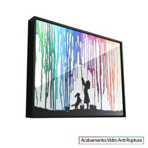 Menina pintando mundo em companhia de seu cachorrinho. Quadros de Animais